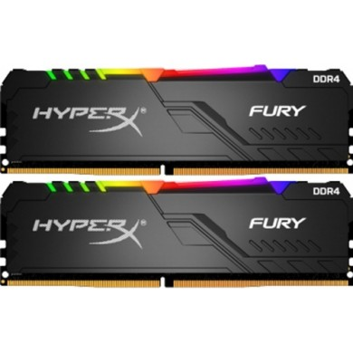 16GB (Kit of 2*8GB) DDR4-2666  Kingston HyperX® FURY DDR4 RGB, PC21300, CL16, 1.2V, Auto-overclocking, Asymmetric BLACK heat spreader, Dynamic RGB effects featuring HyperX Infrared Sync technology, Intel XMP Ready  (Extreme Memory Profiles)