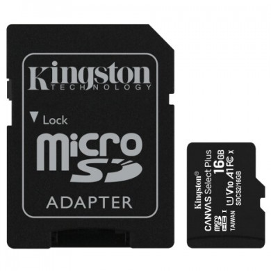 16GB microSD Class10 A1 UHS-I + SD adapter  Kingston Canvas Select Plus, 600x, Up to: 100MB/s