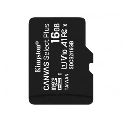 16GB microSD Class10 A1 UHS-I  Kingston Canvas Select Plus, 600x, Up to: 100MB/s