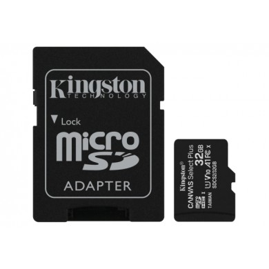 32GB microSD Class10 A1 UHS-I + SD adapter  Kingston Canvas Select Plus, 600x, Up to: 100MB/s