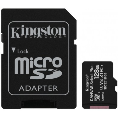 128GB microSD Class10 A1 UHS-I + SD adapter  Kingston Canvas Select Plus, 600x, Up to: 100MB/s