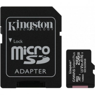 256GB microSD Class10 A1 UHS-I + SD adapter  Kingston Canvas Select Plus, 600x, Up to: 100MB/s