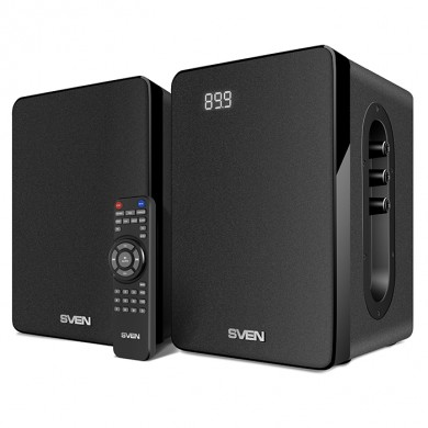 SVEN SPS-710 Black,  2.0 / 2x20W RMS, Bluetooth, FM, USB/SD, Display, RC Control panel on the active speaker side panel,  headphone jack,