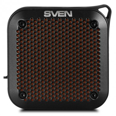 SVEN PS-88 Black, Bluetooth Waterproof Portable Speaker, 7W RMS, Water protection (IPx7), LED display, Support for iPad & smartphone, FM tuner, USB & microSD, TWS, built-in lithium battery -1500 mAh, ability to control the tracks, AUX stereo input