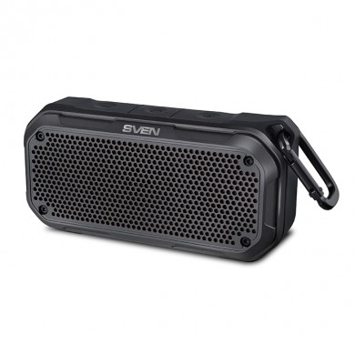 SVEN PS-240 Black, Bluetooth Waterproof Portable Speaker, 12W RMS, Water protection (IPx7), LED display, Support for iPad & smartphone, FM tuner, USB & microSD, TWS, built-in lithium battery - 2000 mAh, ability to control the tracks, AUX stereo input