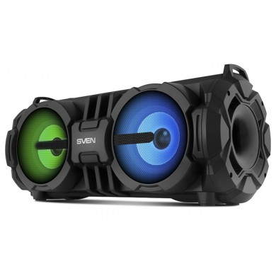 SVEN PS-485 Black, Bluetooth Portable Speaker, 28W RMS, Effective multi-colored lighting, LED display, FM tuner, USB & microSD, built-in lithium battery-2 x 2000 mAh, tracks control, AUX stereo input, Headset mode, micro USB or 5V DC power supply