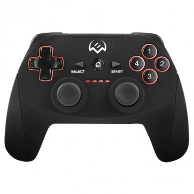 SVEN GC-2040 Wireless Gamepad, X-Input and Direct-Input modes support, 4 axes, D-Pad, 2 mini joysticks and 11 buttons, USB, Black