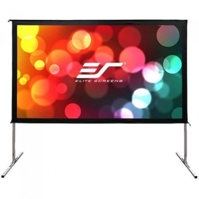 """Elite Screens 100""""(16:9) 222x125cm Yard Master 2 Outdoor/Indoor Projector Screen with Stand, Black, Silver Aluminum Frame, Assembles without the use of tools, Lightweight aluminum square tube construction, Carrying bag"""