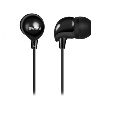 SVEN E-101, Earphones, 20-20000 Hz, 32ohm, 1.2m, 3.5mm  stereo mini-jack, Black