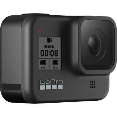 Action Camera GoPro HERO 8 Black,Photo-Video Resolutions:12MP/30FPS-4K60, 8xslow-motion, waterproof 10m,voice control,3x microphones,hyper smooth video+boost,Live streaming,Time Lapse,HDR,GPS,Wi-Fi,Bluetooth,microHDMI,USB-C,3.5mm,Battery 1220mAh,116g