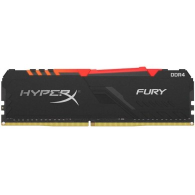 16GB DDR4-2400  Kingston HyperX® FURY DDR4 RGB, PC19200, CL15, 1.2V, Auto-overclocking, Asymmetric BLACK heat spreader, Dynamic RGB effects featuring HyperX Infrared Sync technology, Intel XMP Ready  (Extreme Memory Profiles)
