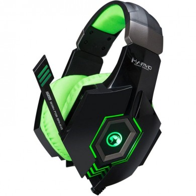 "MARVO ""HG8919"", Gaming Headset, Microphone, 50mm driver unit, Volume control, Adjustable headband, Red illumination, 3.5mm jack+USB, cable 2.1m, Black-Green"
