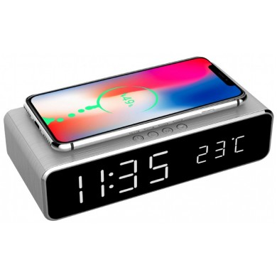 Gembird GMB DAC-WPC-01-S Digital alarm Clock with Wireless charging function, Silver
