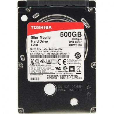 """2.5"""" HDD 500GB  Toshiba  L200 HDWK105UZSVA, 5400rpm, 8MB, 7mm, SATAIII"""