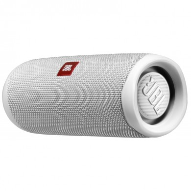 JBL Flip 5 White / Bluetooth Portable Speaker, 20W RMS, BT Type 4.2, Frequency response: 70Hz – 20kHz, IPX7 Waterproof, Speakerphone, 4800mAh rechargeable Li-ion battery, JBL Connect, JBL PartyBoost, Power Supply: 5V / 1A, Battery life (up to) 12 hr