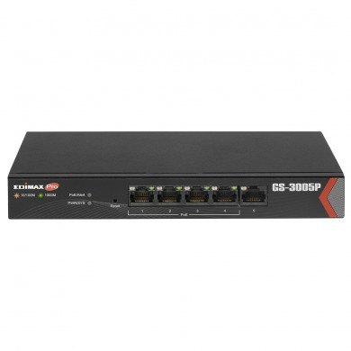 EDIMAX GS-3005P, 5-Port Gigabit Desktop PoE Switch, 5 Gigabit LAN ports including 4 PoE ports, Up to 30W per port (Total 72W) for powering PoE-enabled devices, Long range PoE power delivery distance extending up to 200 meters, steel case