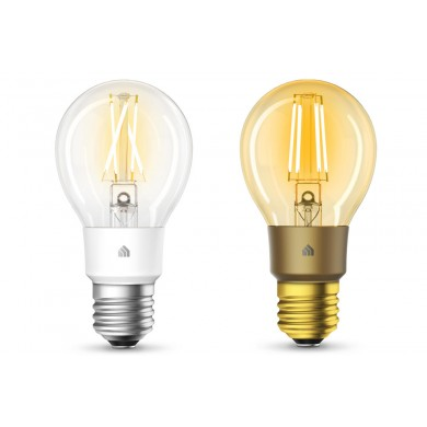 TP-LINK KL60, Kasa Filament Smart Bulb, Warm Amber, Smart and Stylish, Dimmable, Color Temperature 2000K, Rated power 5W, 450 lumens, 15000 hours, Beam angle 290°, Set Schedules, Remote control via Wifi, Adjust brightness