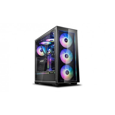 "DEEPCOOL ""MATREXX 70 ADD-RGB 3F"" ATX Case, with Side-Window, Tempered Glass Side & Front panel, without PSU, Tool-less, 3x120mm RGB fans and 1*RGB LED pre-installed, RGB LED Strip (in the front), 2xUSB3.0, 1xUSB2.0 /Audio, Black"