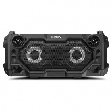 SVEN PS-500 Black, Bluetooth Portable Speaker, 36W RMS, Effective multi-colored lighting, LED display, FM tuner, USB & microSD, built-in lithium battery-2x2000 mAh, tracks control, AUX stereo input, Headset mode, micro USB or 5V DC power supply