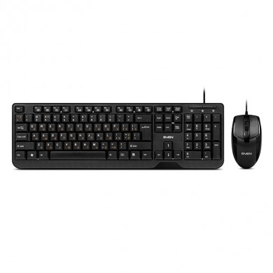 SVEN KB-S330C, Keyboard 12Fn-keys + Mouse (Optical 1000 dpi, 2+1(scroll wheel)), Waterproof design, Classic fullsize layout, USB, Black
