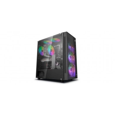 Carcasa DEEPCOOL MATREXX 55 MESH ADD-RGB 4F / w/oPSU / Side panel / 4x120mm ADD-RGB fans / ATX / Black