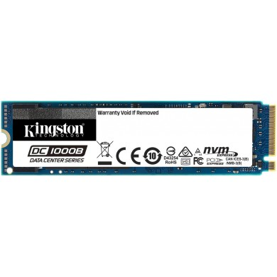 M.2 NVMe SSD 240GB Kingston DC1000B, for Enterprise Servers, Power Loss Protection, AES 256bit, PCIe3.0 x4 / NVMe1.3, M2 Type 2280 form factor, Sequential Reads/Writes 2200/290 MB/s, Steady-State 4k Read / Write 111K/12K IOPS, 248TBW, 3D NAND TLC