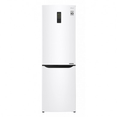Refrigerator- LG GA-B379SQUL, White, Total volume - 261L, 173.7x59.5x65.5cm, Refrigerator/Freezer volume - 182L/79L, Refrigerator / Freezer - NoFrost, Display, Class - A+ (263kWh), Down Freezer, Temperature regulator - Sensor, 62kg