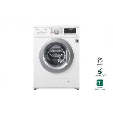 Washer LG F12M7NDS1, White/Silver, Max load - 6kg, Max speed - 1200rpm, 60x44x85cm, Depth - 44cm, Direct Drive, SpaSteam, Download Type - front, Class - A/A/B, Display, 13 programm