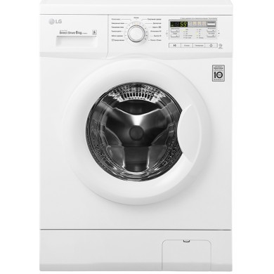Washer LG F10B8ND, White, Max load - 6kg, Max speed - 1000rpm, 85x60x44cm, Depth - 44cm, Direct Drive, SmartDiagnosis, Download Type - front, Class - A+++/A/B, Display, 13 programm