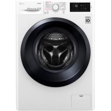 Washer LG F2J5HS6W, White/Silver, Max load - 7kg, Max speed - 1200rpm, 85x60x45cm, Depth - 45cm, Direct Drive, Download Type - front, Class - A/A/B, Display, Sensor, 14 programm