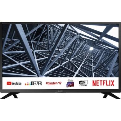 "32"" LED TV SHARP 32BC4E, Black, 1366x768 (HD), SmartTV (Aquos NET+), Wifi+Lan, Active Motion 200, HDR, ACE PRO ULTRA Engine, Harman Kardon, RMS 2x10W, HDMIx3, USBx2, SD Card slot, DVB-T2/C/S2/CI+, RF RC, Vesa 200x200"