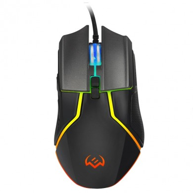 SVEN RX-G960 Gaming, Optical Mouse, 500-6400 dpi, 7+1 buttons (scroll wheel),  DPI switching modes, Two navigation buttons (Forward and Back), RGB backlight, Soft Touch coating, USB, Black