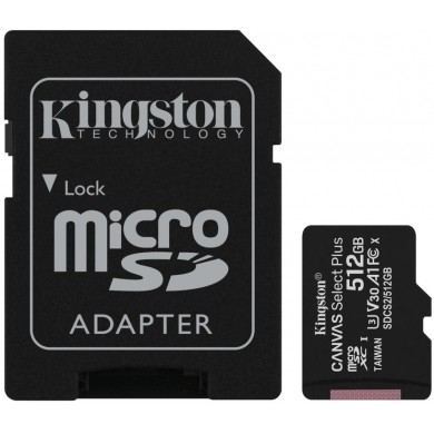 512GB microSD Class10 A1 UHS-I + SD adapter  Kingston Canvas Select Plus, 600x, Up to: 100MB/s
