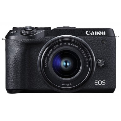 Mirrorless Camera CANON EOS M6 II 15-45 IS STM Black + electronic viewfinder EVF-DC2 (3611C053)