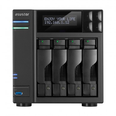 "4-bay NAS Server  ASUSTOR ""AS7004T"", Intel Core i5-4590S (Quad-Core) 3.0-3.7GHz, 8GB DDR3L(Max.16GB), 4x 2.5""/3.5""SATA (Hot Swap), LCD Panel, USB3.0 x3, USB2.0 x2, eSATA x2, GigaLAN x2, HDMI, S/PDIF, AES-NI, HT, IR, IP cam: <64 (4 Free)"
