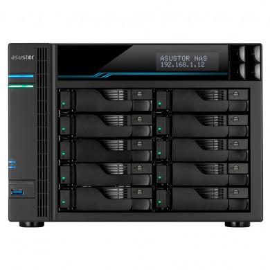 "10-bay NAS  ASUSTOR ""AS7110T"", Intel 9th Xeon E-2224 (Quad-Core) 3.5-4.6GHz, 8GB DDR4 ECC(Max.32GB), 10x 2.5""/3.5""SATA (Hot Swap), LCD Panel, 2x M.2 Slot Cashing, 2x USB3.2, 1x USB3.0, LAN: 1x 10GbE, 3x 2.5GbE, AES-NI, EZ Soft, IP Cam: <100 (4 Free)"