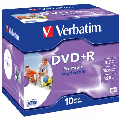 Verbatim DataLifePlus DVD+R AZO 4.7GB 16X WIDE PRINTABLE SURFACE - Jewel Case 10pcs.
