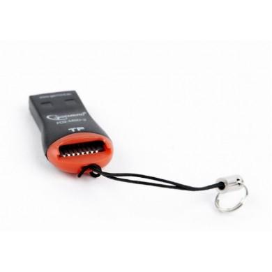 Card Reader Gembird FD2-MSD-3, MicroSDHC, Key ring cord, Black/Orange, USB2.0