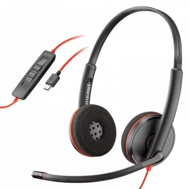 Plantronics Blackwire C3220, USB -A, Microphone noise-canceling, SoundGuard, DSP, Receive output from 20 Hz–20 kHz, Microphone 100 Hz–10 kHz, Call answer/ignore/end/hold, redial, mute, volume +/-, OEM