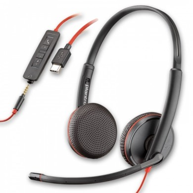 Plantronics Blackwire C3225, USB -A / Jack 3.5mm, Microphone noise-canceling, SoundGuard, DSP, Receive output from 20 Hz–20 kHz, Microphone 100 Hz–10 kHz, Call answer/ignore/end/hold, redial, mute, volume +/-, OEM