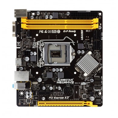 Biostar H61MHV2, Socket 1155, Intel H61, Dual 2xDDR3-1600, CPU Intel graphics, VGA, HDMI, 1xPCI-E x16 3.0, 4xSATA2, 1xPCIe X1, Realtek ALC662 6-Ch HD Audio, Realtek RTL8111H GigaLAN, 4xUSB 2.0, mATX