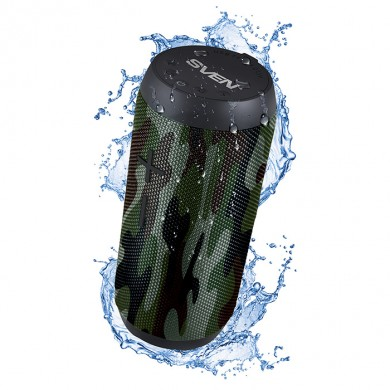 SVEN PS-210 Camouflage, Bluetooth Waterproof Portable Speaker, 12W RMS, Water protection (IPx6), Support for iPad & smartphone, FM tuner, USB & microSD, TWS, built-in lithium battery -1500 mAh, ability to control the tracks, AUX stereo input