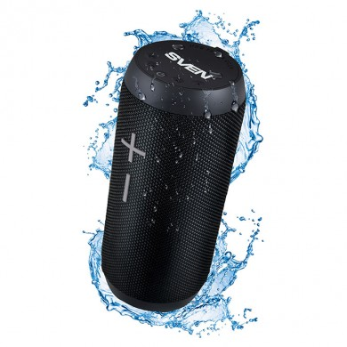 SVEN PS-210 Black, Bluetooth Waterproof Portable Speaker, 12W RMS, Water protection (IPx6), Support for iPad & smartphone, FM tuner, USB & microSD, TWS, built-in lithium battery -1500 mAh, ability to control the tracks, AUX stereo input
