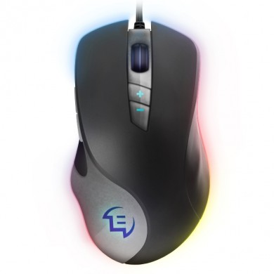 SVEN RX-G970 Gaming, Optical Mouse, 600-4000 dpi, 6+1 buttons (scroll wheel),  DPI switching modes, Two navigation buttons (Forward and Back), RGB backlight, Soft Touch coating, USB, 1.8m, Black