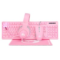 """MARVO """"CM418"""", Gaming Combo Keyboard+Mouse+Mouse Pad+Headset, Pink"""