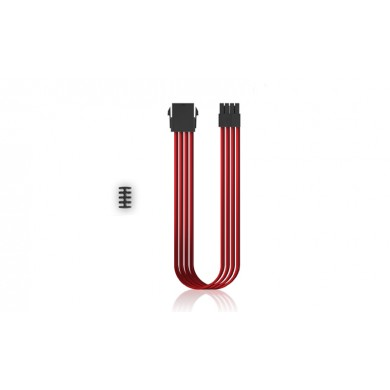"DEEPCOOL ""EC300-CPU8P-RD"", RED, Extension cable 8 (4+4)-pin ATX, 18AWG fiber wire and a high-quality terminal, wire length 300mm"