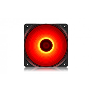 "120mm Case Fan  - DEEPCOOL ""RF120R"" RED LED Fans, 120x120x25mm, 500-1500rpm, 21.9dBa, 48.9 CFM, 3-pin & 4-pin Peripheral"