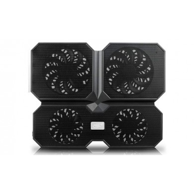 """DEEPCOOL """"MULTI CORE X6"""", Notebook Cooling Pad up to 17"""", 4 fan (2x 140mm,  2x100mm), 1000rpm, <25dBA, 94.7CFM, 4x USB, all aluminum extrusion panel, Black"""
