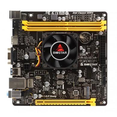 Biostar A10N-9830E, MB + CPU onboard: Quad-core AMD FX-9830P (3.0-3.7GHz), 2xDDR4-2400, AMD Radeon R7 Graphics, VGA, HDMI, 1x PCI-Ex16, 2x SATA3, 1x M.2,  1xCOM header, ALC887 8-Ch HDA, GbE LAN,  4xUSB 3.2 Gen1, 4xUSB2.0, Mini-ITX