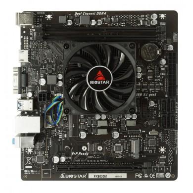 Biostar FX9830M, MB + CPU onboard: Quad-core AMD FX-9830P (3.0-3.7GHz), 2xDDR4-2400, AMD Radeon R7 Graphics, VGA, HDMI, 1x PCI-Ex16, 4x SATA3, 1x M.2,  1xCOM & TPM headers, ALC887 8-Ch HDA, GbE LAN,  4xUSB 3.2 Gen1, 4xUSB2.0, mATX
